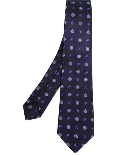 kiton mini flower embroidery tie in blue for lyst