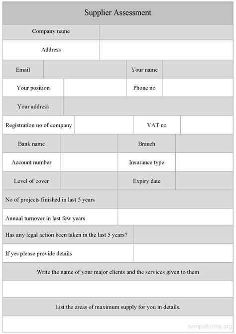 supplier form template sle supplier assessment form sle forms