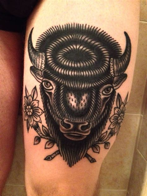 buffalo head tattoo buffalo done by bailey robinson in