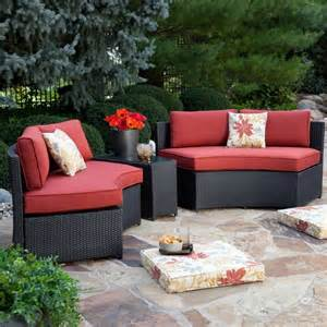 Curved Patio Furniture Set Meridian All Weather Wicker Curved Bench Set 4 Benches Patio Chairs At Patio Furniture Usa