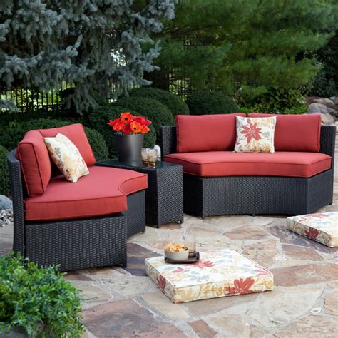 Meridian All Weather Wicker Curved Bench Set 4 Benches Curved Outdoor Patio Furniture