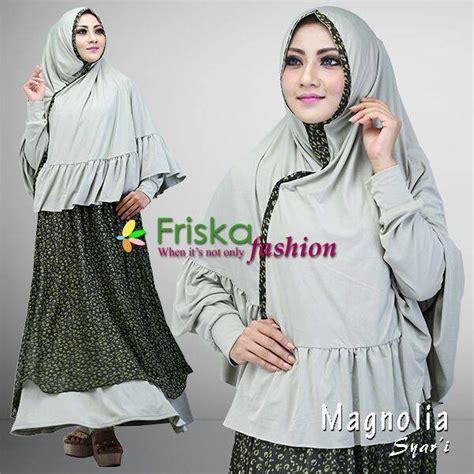 magnolia hijau pupus baju muslim gamis modern