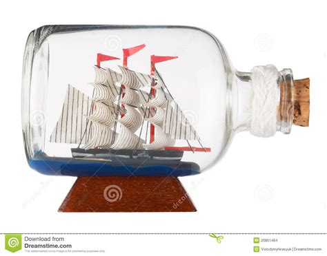 bootje in een fles schip in een fles stock foto afbeelding bestaande uit