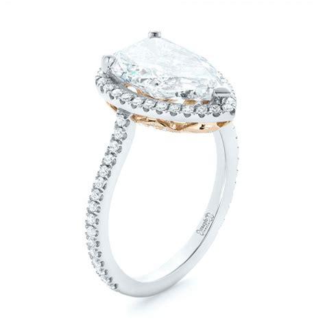 custom two tone halo engagement ring 102901