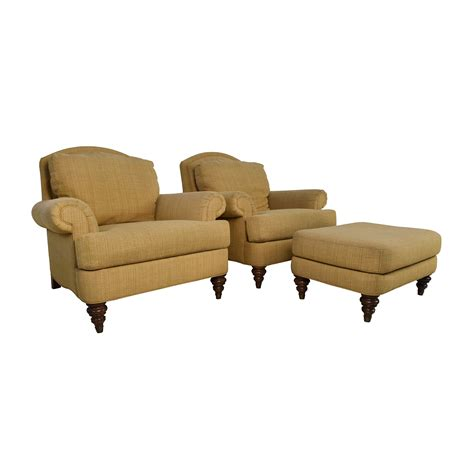 single ottoman 89 off ethan allen ethan allen hyde chair pair and