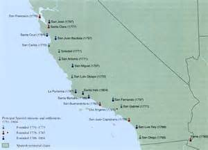 map of missions in california hispanic colonization of america