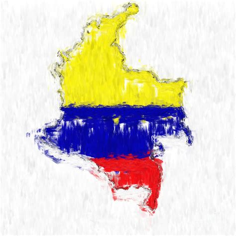 Duvet And Cover Colombia Painted Flag Map Painting By Antony Mcaulay