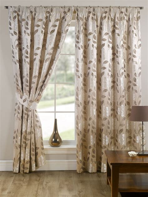 cream and beige curtains stylish pencil pleat tape top lined flower pattern pair of