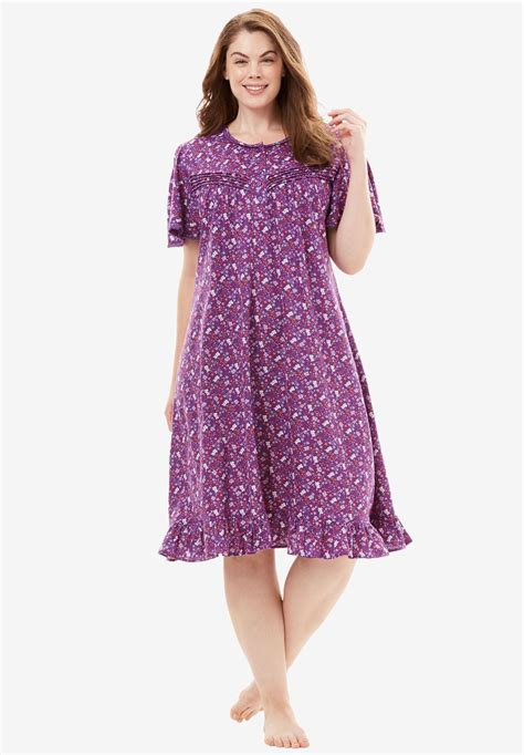 cotton knit nightgowns plus size cotton print nightgown by dreams co 174 plus size