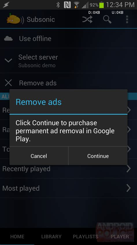 ad remover for android subsonic streamer updated to remove ads no more in app purchase required