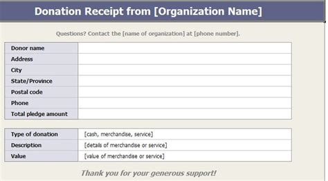 Pta Donation Receipt Template by 1000 Ideas About Charitable Donations On