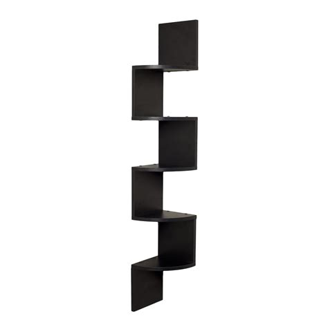 corner wall shelf unit zigzag shape 5 curved shelves black