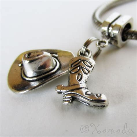 cowboy hat and cowboy boot european charm bead for large