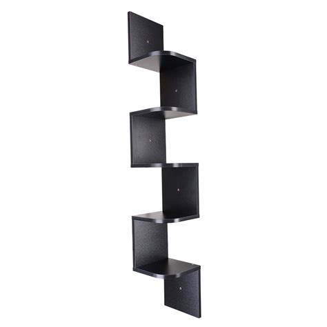Zig Zag Wall Shelf by 5 Tiers Wall Mount Corner Zig Zag Wood Shelf Floating