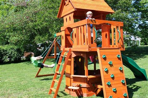 Orange Wooden Swing Sets For Backyard Backyard Swings Backyard Wooden Swing Sets