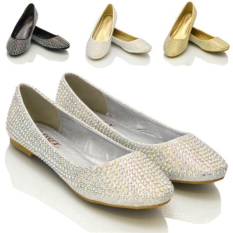 wedding shoes flats sparkle new womens diamante bridal sparkly bridesmaid