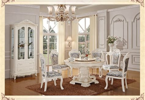 luxury wooden ding table  chair white color dining