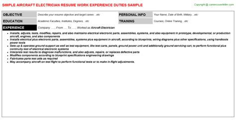 Aviation Electrician Cover Letter by Aviation Electrician Resume Exle Resume Ixiplay Free Resume Sles