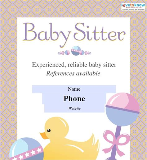 Sitting Template by Babysitting Flyers Template Free Word Templates