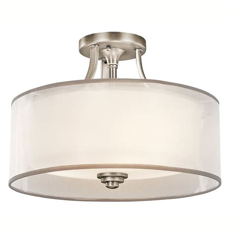 flush mount ceiling lights for kitchen shop kichler lacey 15 in w antique pewter etched glass