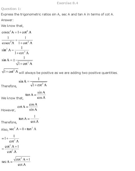 NCERT Solutions for Class 10th Maths: Chapter 8