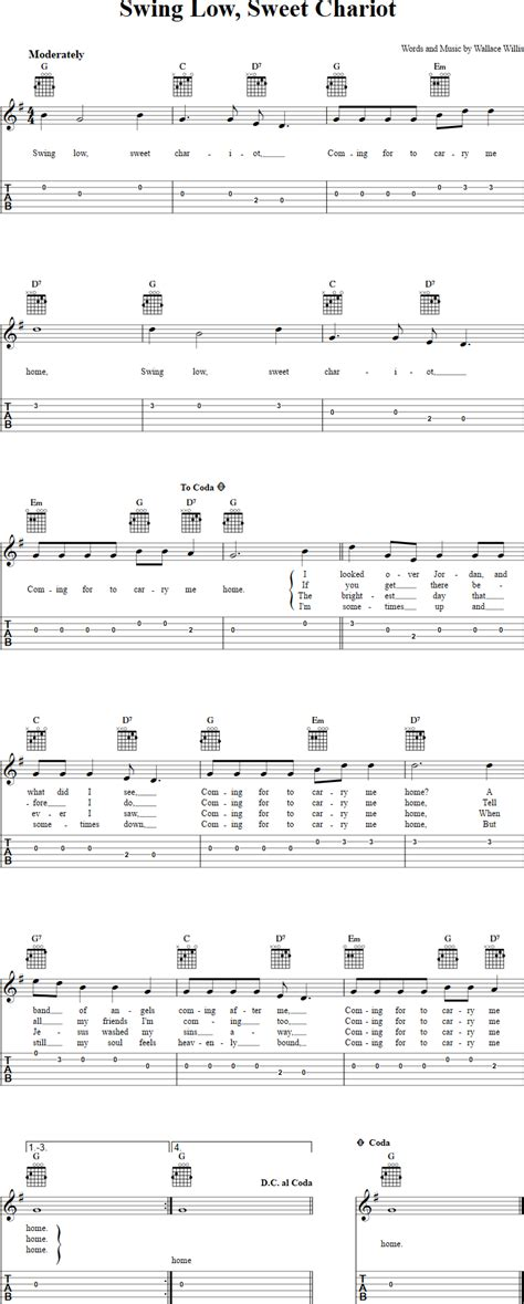 swing high swing low lyrics swing low sweet chariot chords sheet music and tab for