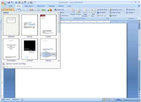 how to make a custom cover page in word 2007 cover