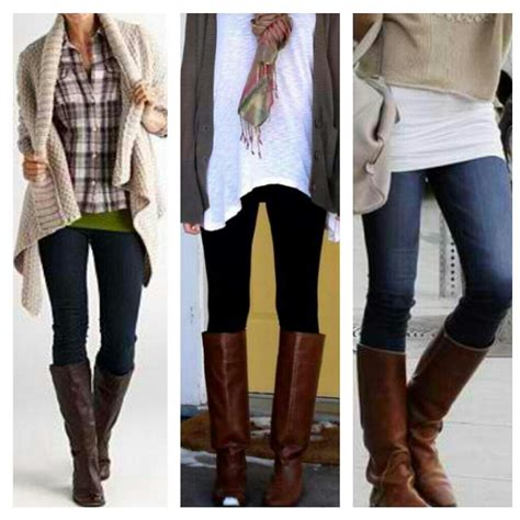 what to wear with light brown boots black tights or dark skinny jeans with layered shirts and