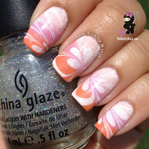 Water Nail by Gradient Flower Water Marble Nails The Crafty