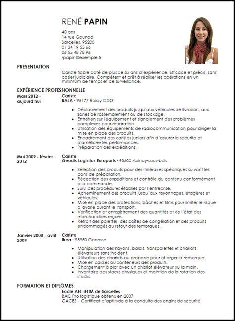 Lettre De Motivation De Cariste Exemple Cv Cariste Mod 232 Le De Cv Cariste Livecareer