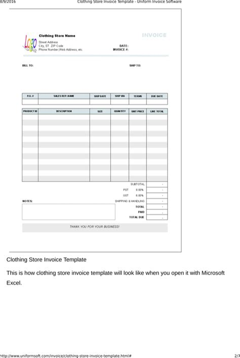 clothing receipt template clothing store receipt template for free page 2
