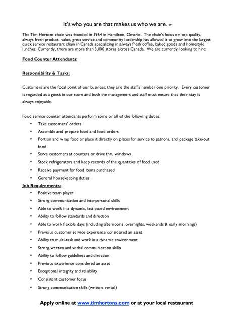 tim hortons cover letter sle resume for customer service tim hortons resume
