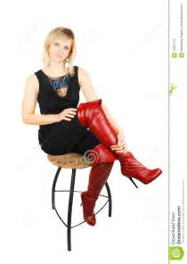 woman in high red boots royalty free stock image image