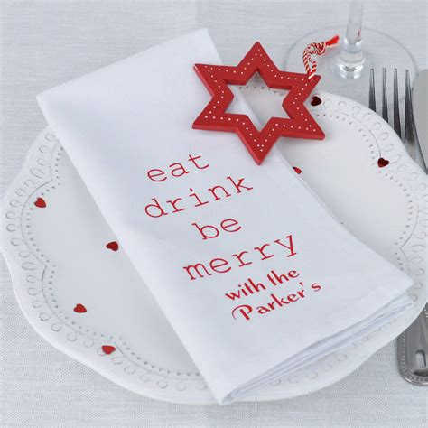personalised eat drink be merry napkins by andrea fays