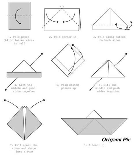 Origami Boar - how to make an origami boat origami pie