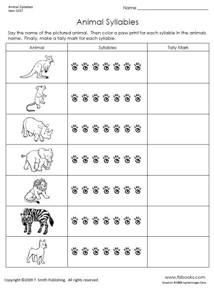 Syllables Worksheets by Animal Syllables Tlsbooks