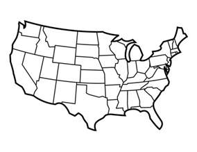 Continental Us Outline by Tim De Vall Comics Printables For