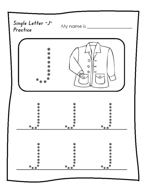 printable worksheets letter j single letter j worksheet free printable trace line