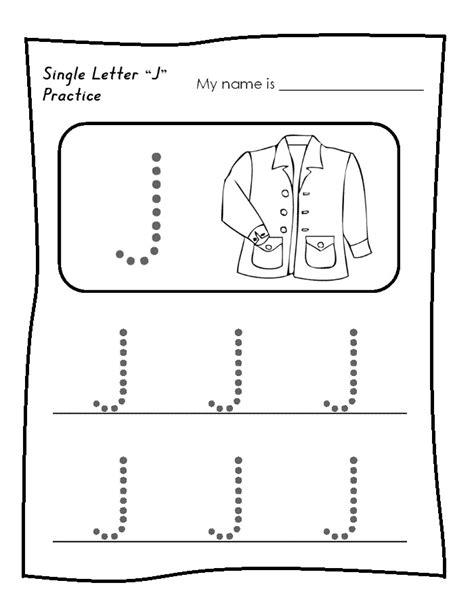 printable tracing letter j single letter j worksheet free printable trace line