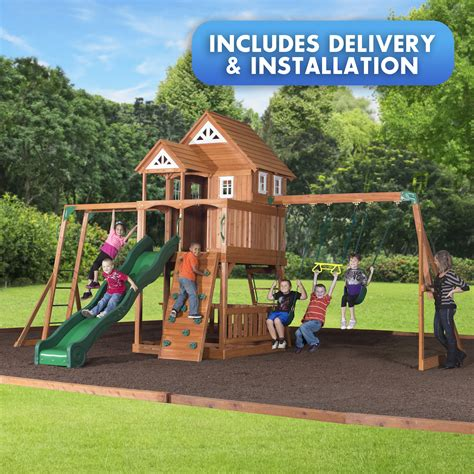 kmart wooden swing sets backyard discovery elmwood swingset free delivery and