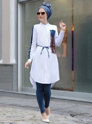 Pakaian Baju Muslim Wanita Maxi Kaftan Elegance Eliza White P 252 Sk 252 Ll 252 Tunik Beyaz Selma Sar莖 Design