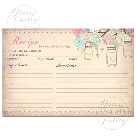 vintage recipe card template printable recipe card jars vintage