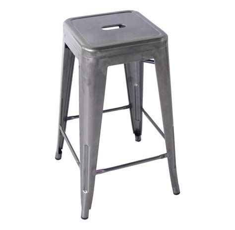 Industrial Metal Bar Stool Bouchon Industrial Steel Backless Cafe Counter Stool Set Of 4
