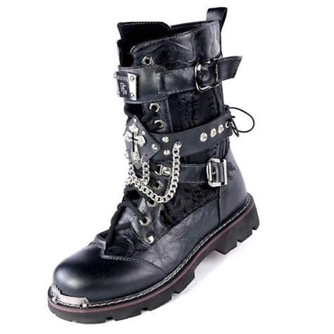 mens black biker style boots men black studded cyber punk goth fashion biker boots w