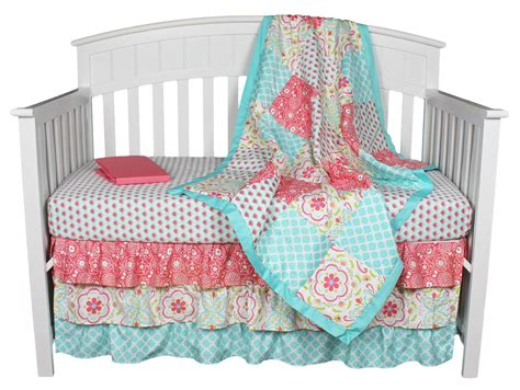 Patchwork Nursery Bedding - floral coral aqua patchwork 4 in 1 baby crib