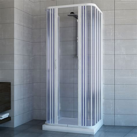 Plastic Folding Shower Doors Shower Enclosure 3 Sided Central Open Quadrant Cubicle Plastic Pvc Folding Doors