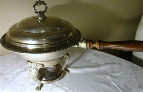 vintage silver plated  piece chafing dish bowl  wood