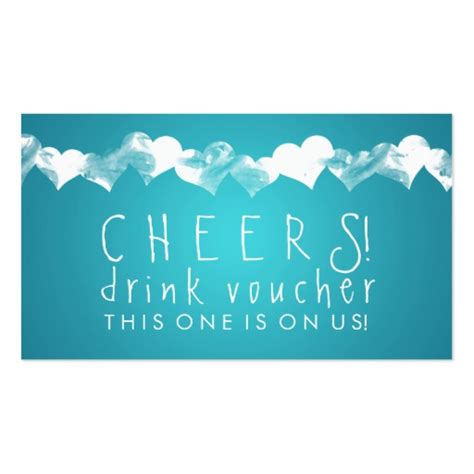 collections of wedding drink voucher business cards