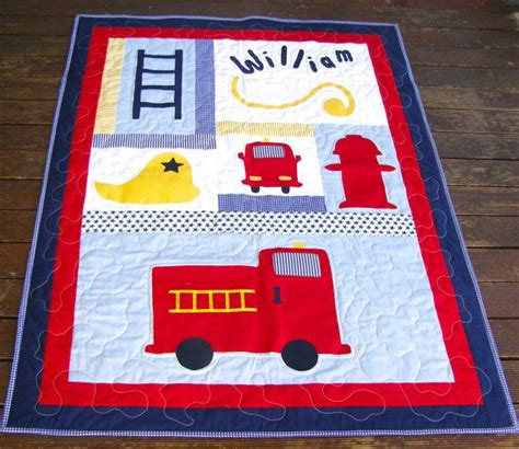 Firetruck Quilt by Baby Boy Quilt Firetruck Quilt Fireman By Blacktulipquilts On Etsy 170 00 Quilts Quilts