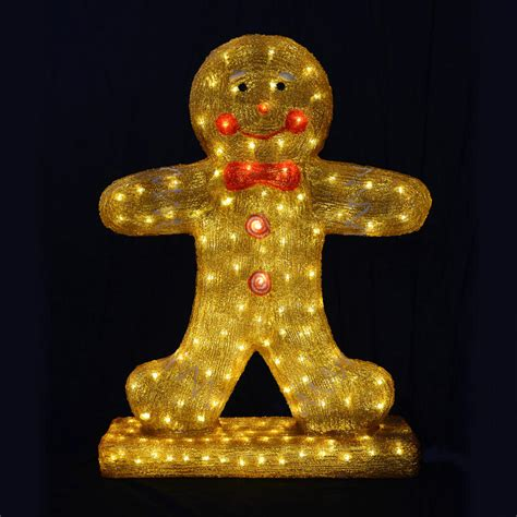 christmas gingerbread boy light up decoration 80cm mains